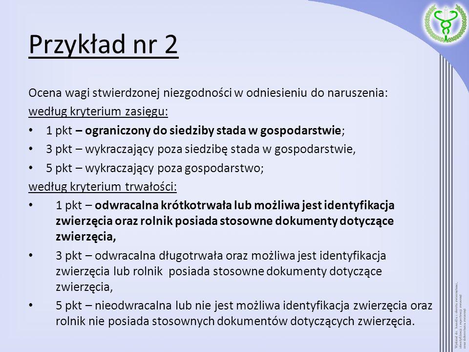 Przykład nr 2 Ocena wagi stwierdzonej niezgodności w odniesieniu do naruszenia: według kryterium zasięgu:
