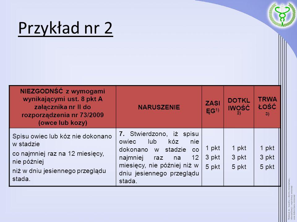Przykład nr 2 NIEZGODNŚĆ z wymogami wynikającymi ust. 8 pkt A załącznika nr II do rozporządzenia nr 73/2009 (owce lub kozy)