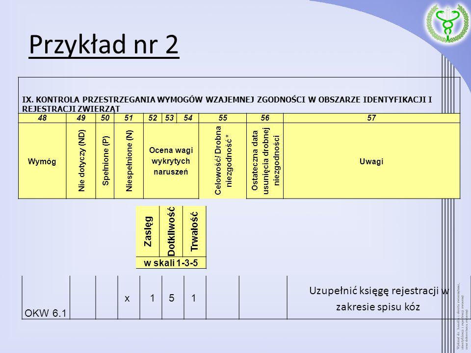 Przykład nr 2 Uzupełnić księgę rejestracji w zakresie spisu kóz