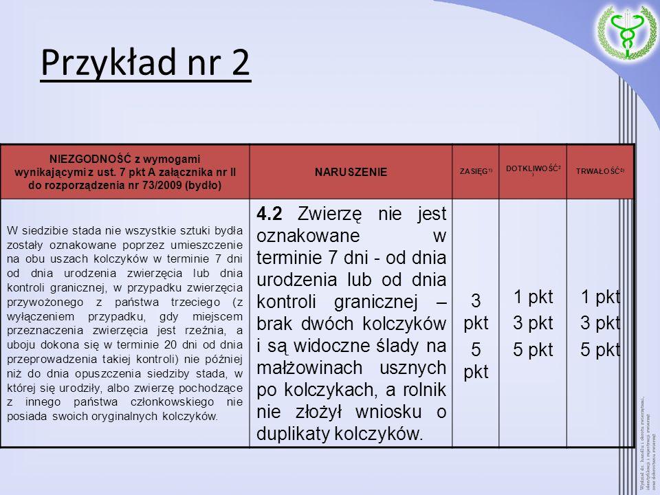Przykład nr 2 NIEZGODNOŚĆ z wymogami wynikającymi z ust. 7 pkt A załącznika nr II do rozporządzenia nr 73/2009 (bydło)