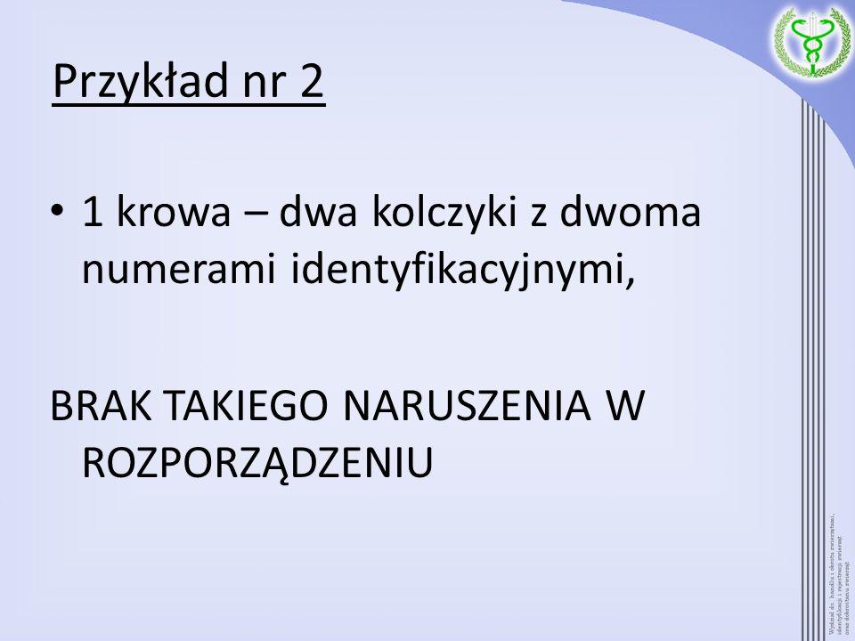 Przykład nr 2 1 krowa – dwa kolczyki z dwoma numerami identyfikacyjnymi, BRAK TAKIEGO NARUSZENIA W ROZPORZĄDZENIU.