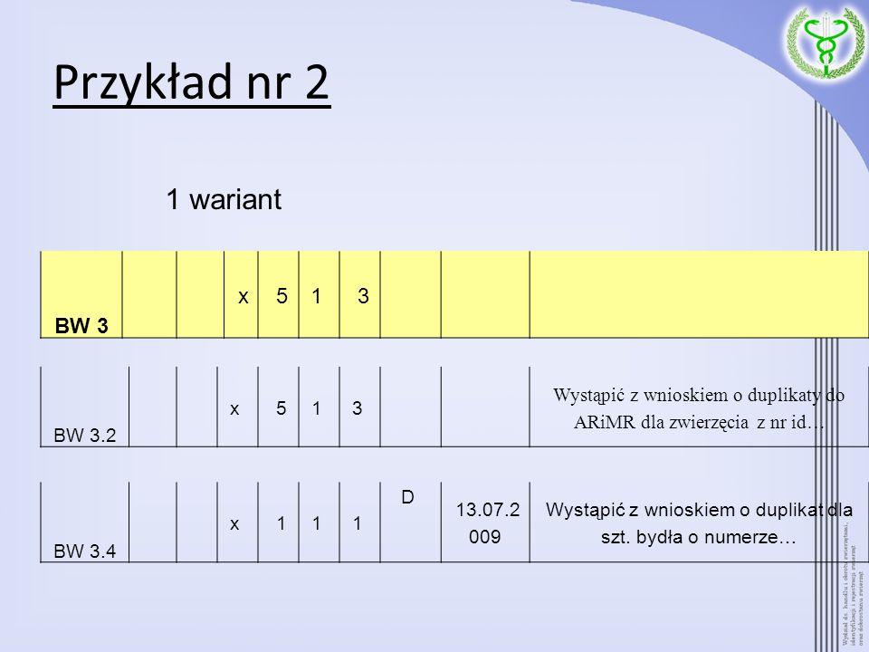 Przykład nr 2 1 wariant BW 3 x 5 1 3 BW 3.2 x 5 1 3