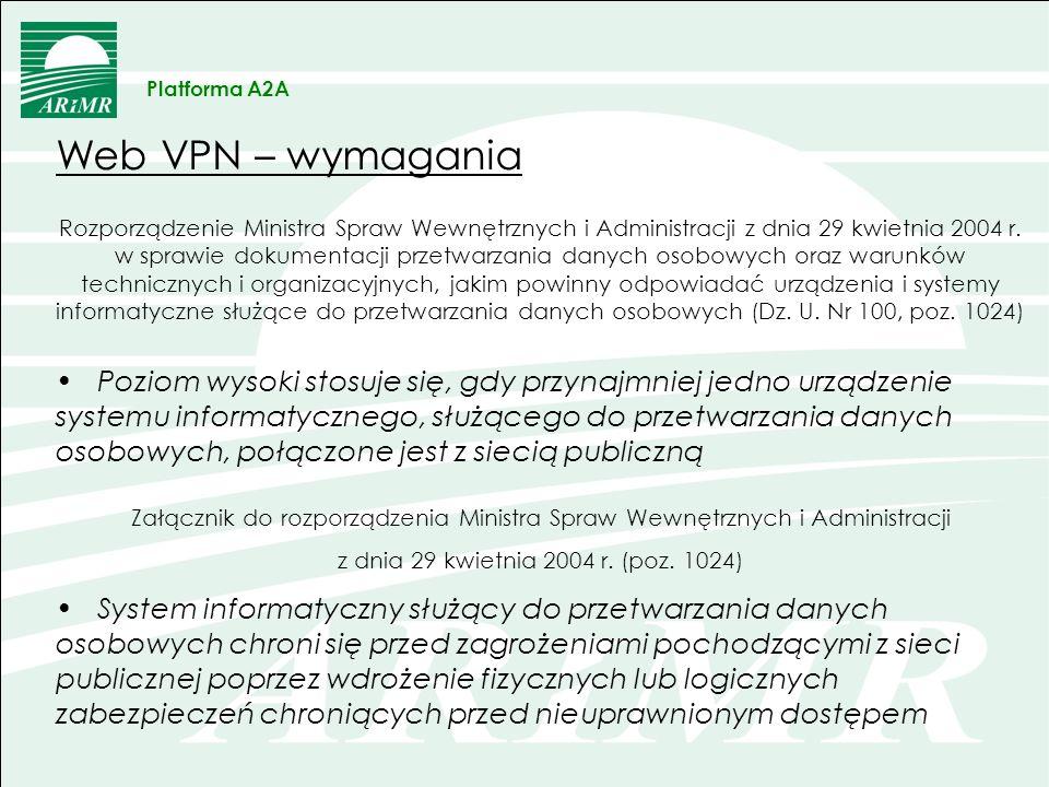 Platforma A2AWeb VPN – wymagania.