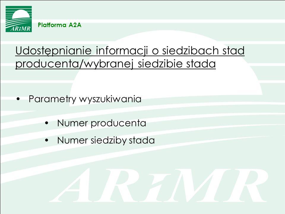 Platforma A2AUdostępnianie informacji o siedzibach stad producenta/wybranej siedzibie stada. Parametry wyszukiwania.