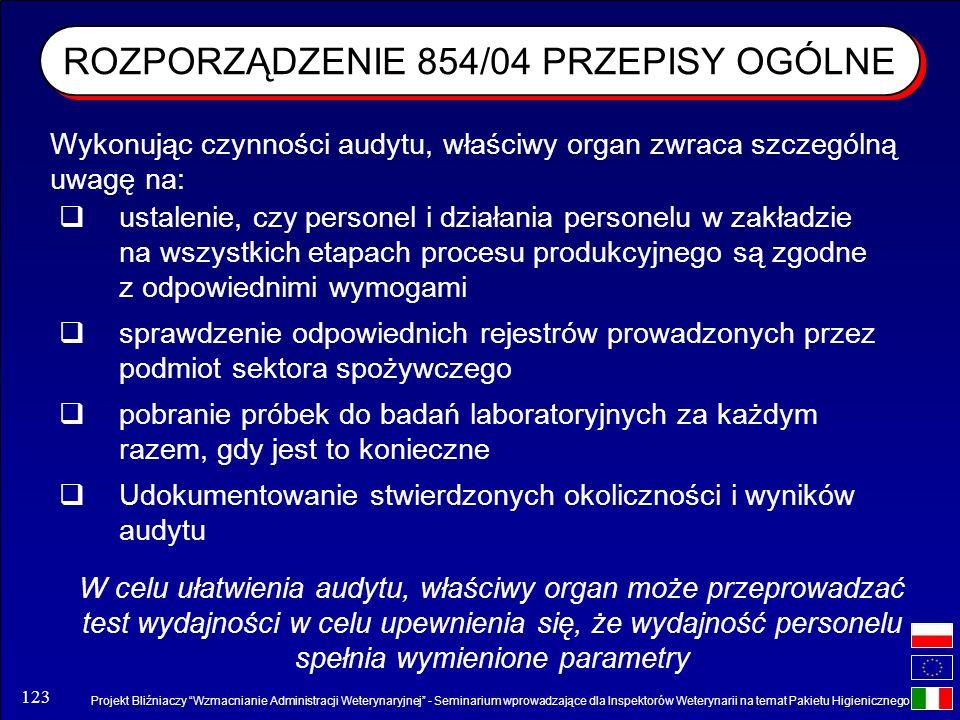 ROZPORZĄDZENIE 854/04 PRZEPISY OGÓLNE