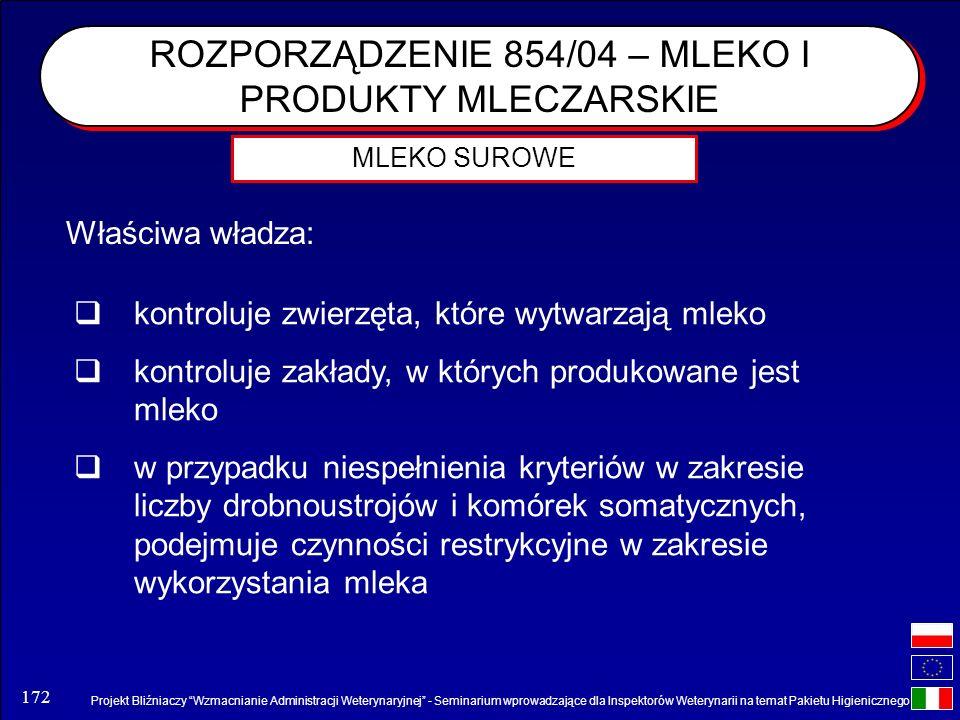ROZPORZĄDZENIE 854/04 – MLEKO I PRODUKTY MLECZARSKIE