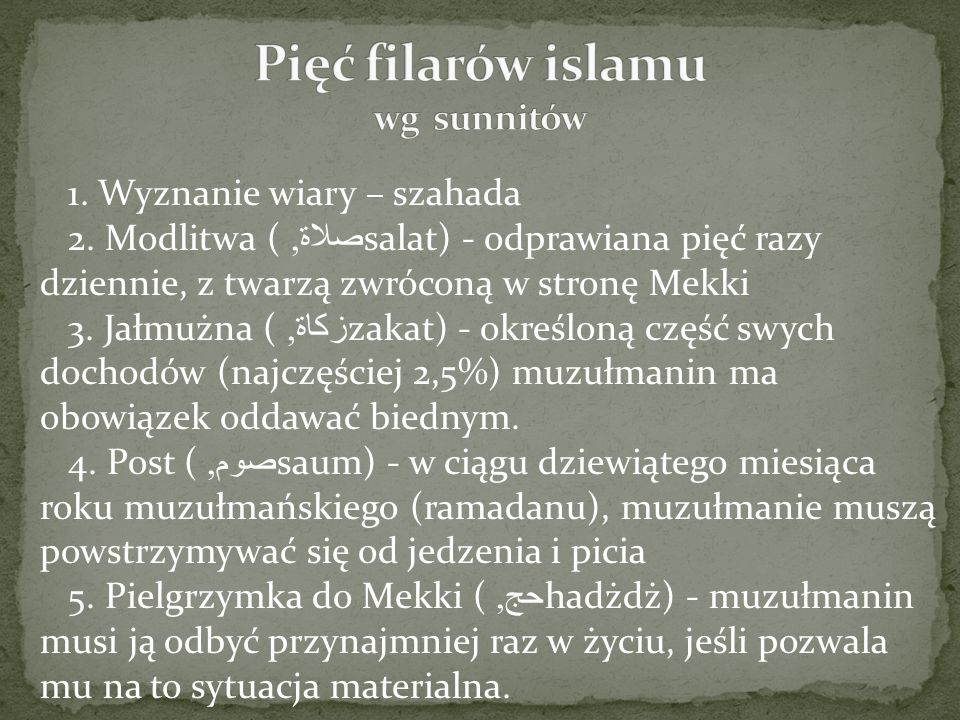 Pięć filarów islamu wg sunnitów