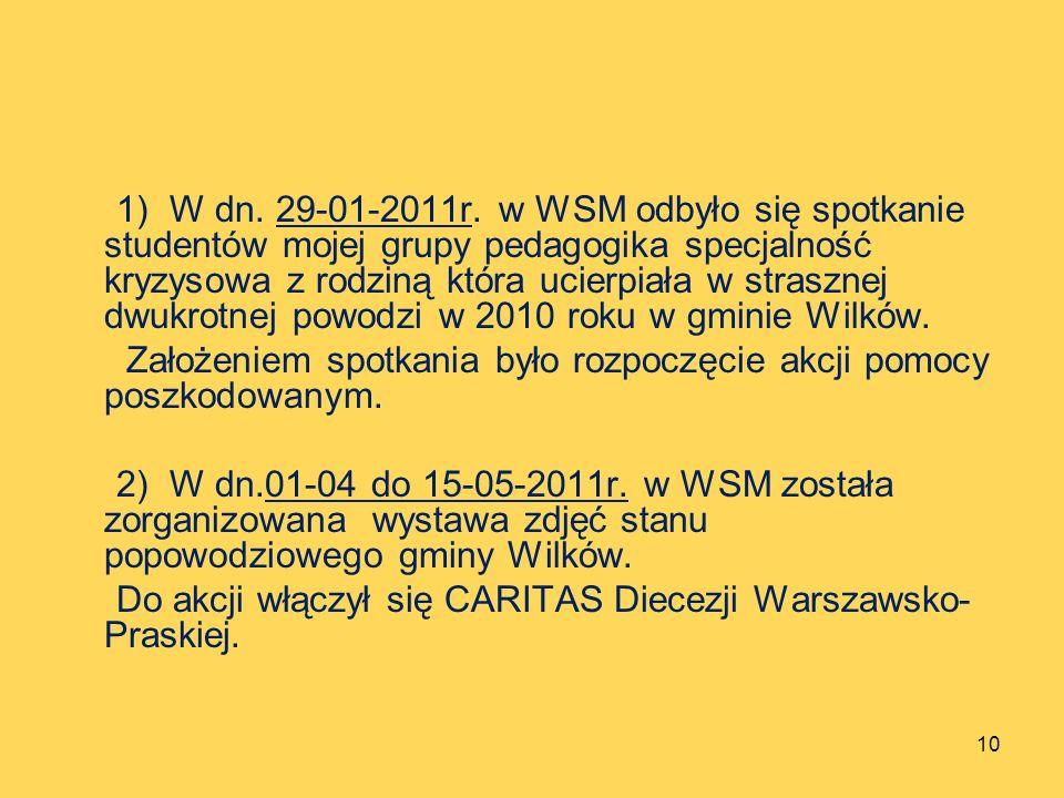 1) W dn. 29-01-2011r. w WSM odbyło się spotkanie studentów mojej grupy pedagogika specjalność kryzysowa z rodziną która ucierpiała w strasznej dwukrotnej powodzi w 2010 roku w gminie Wilków.