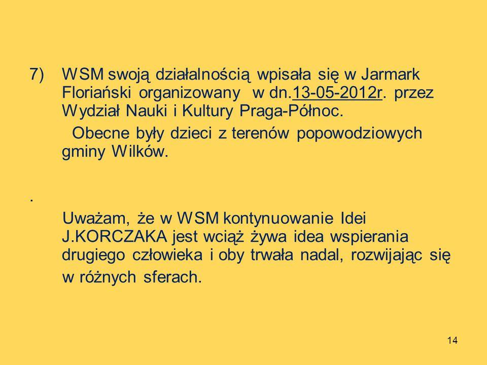 WSM swoją działalnością wpisała się w Jarmark Floriański organizowany w dn.13-05-2012r. przez Wydział Nauki i Kultury Praga-Północ.