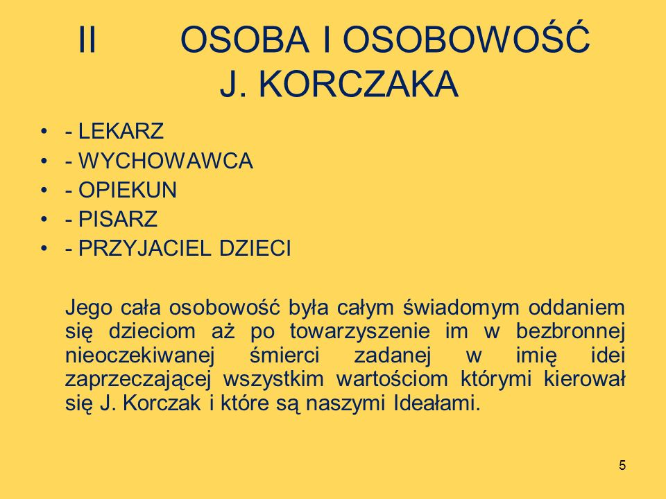 II OSOBA I OSOBOWOŚĆ J. KORCZAKA