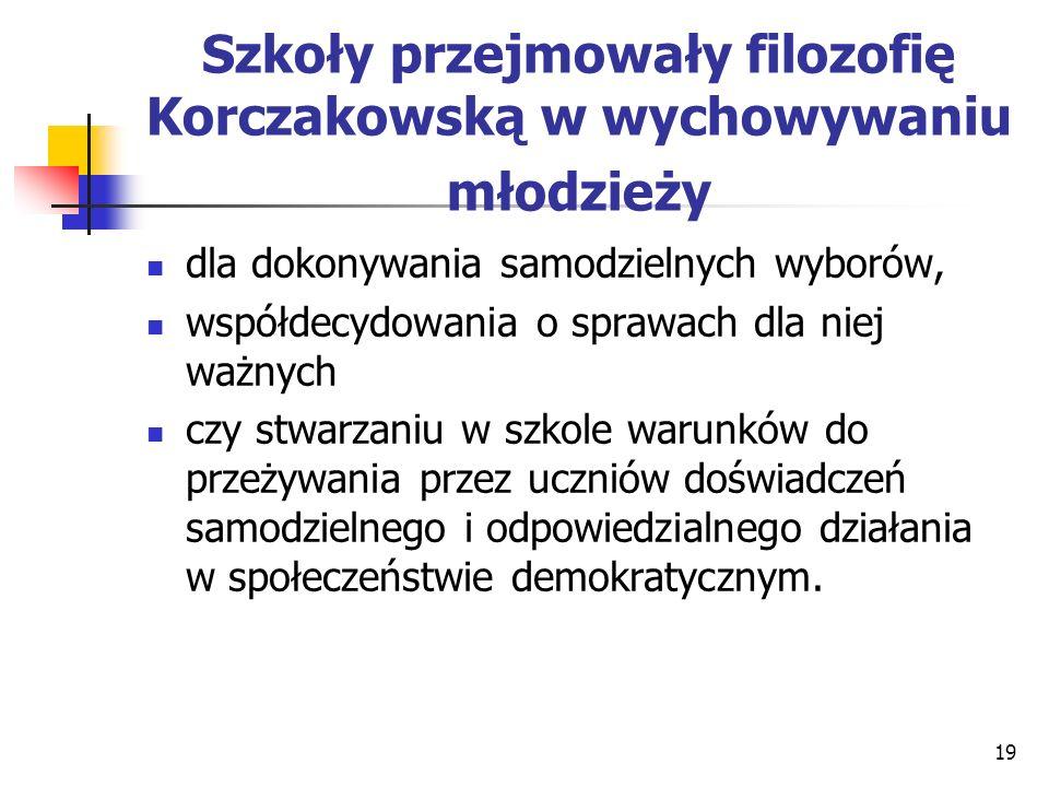 Szkoły przejmowały filozofię Korczakowską w wychowywaniu młodzieży