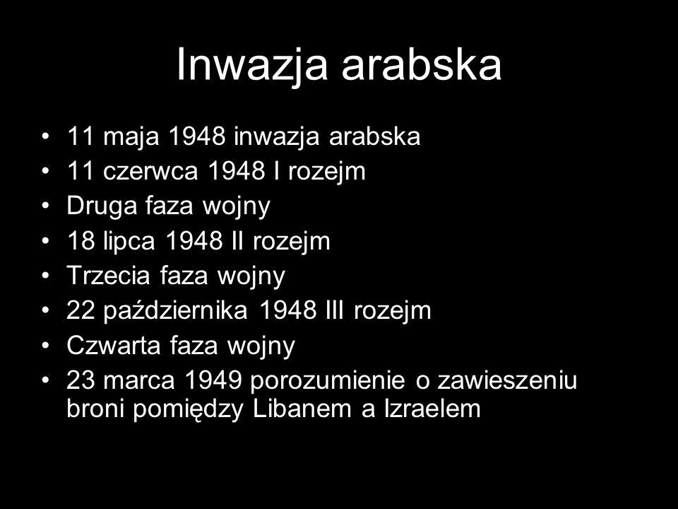 Inwazja arabska 11 maja 1948 inwazja arabska 11 czerwca 1948 I rozejm
