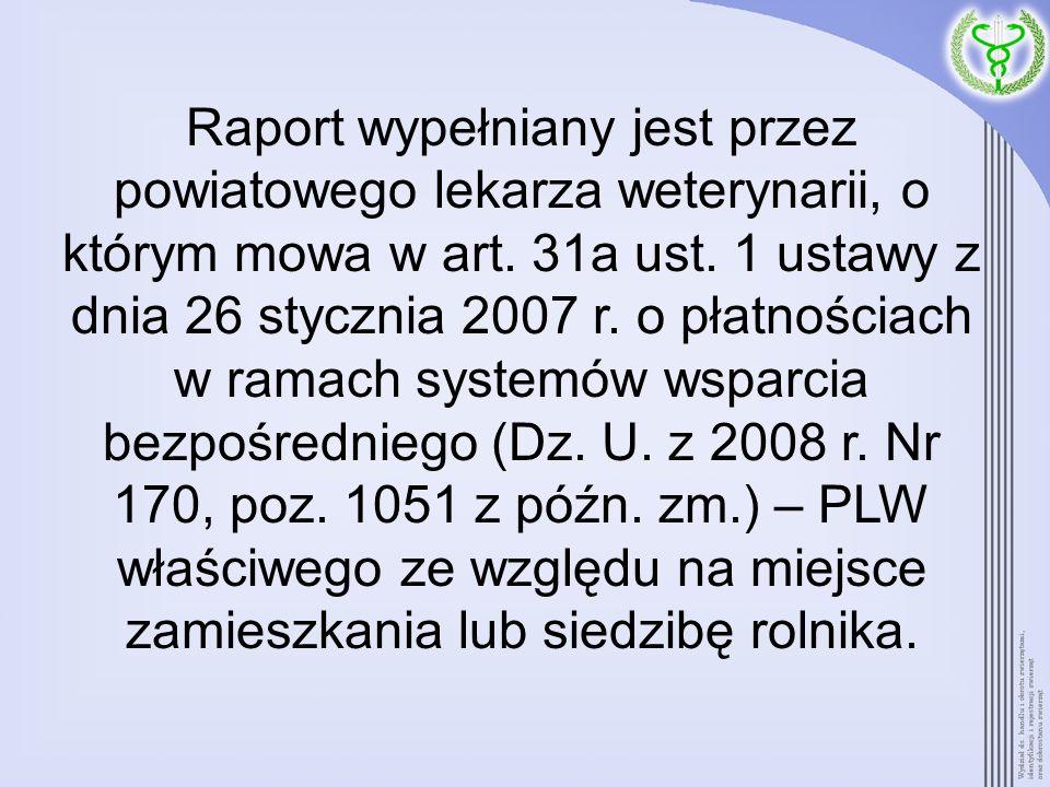 Raport wypełniany jest przez powiatowego lekarza weterynarii, o którym mowa w art.