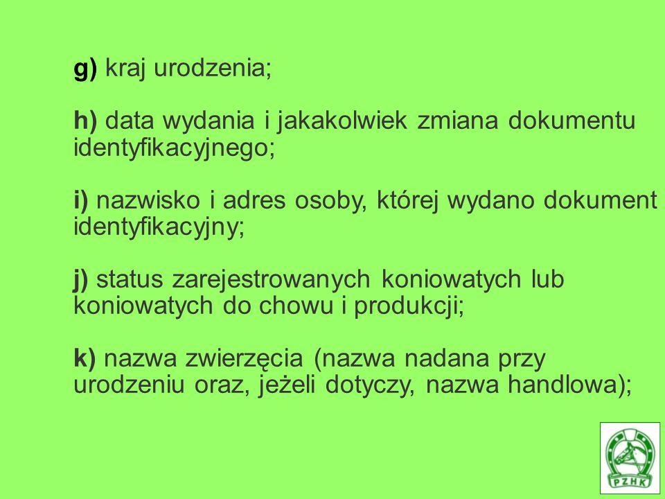 g) kraj urodzenia; h) data wydania i jakakolwiek zmiana dokumentu identyfikacyjnego;