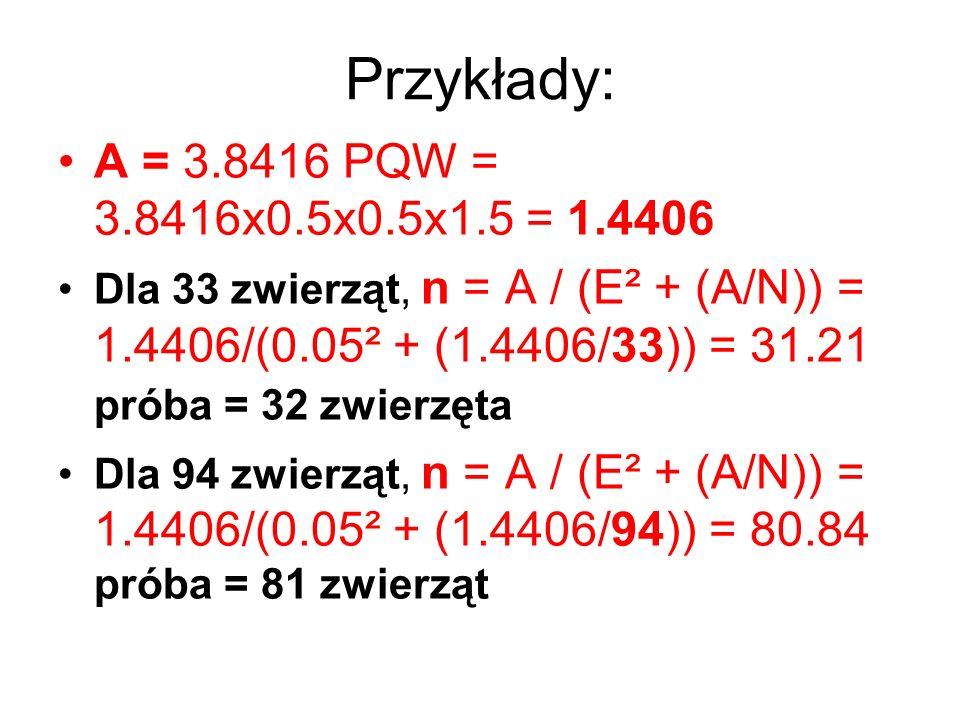 Przykłady: A = 3.8416 PQW = 3.8416x0.5x0.5x1.5 = 1.4406