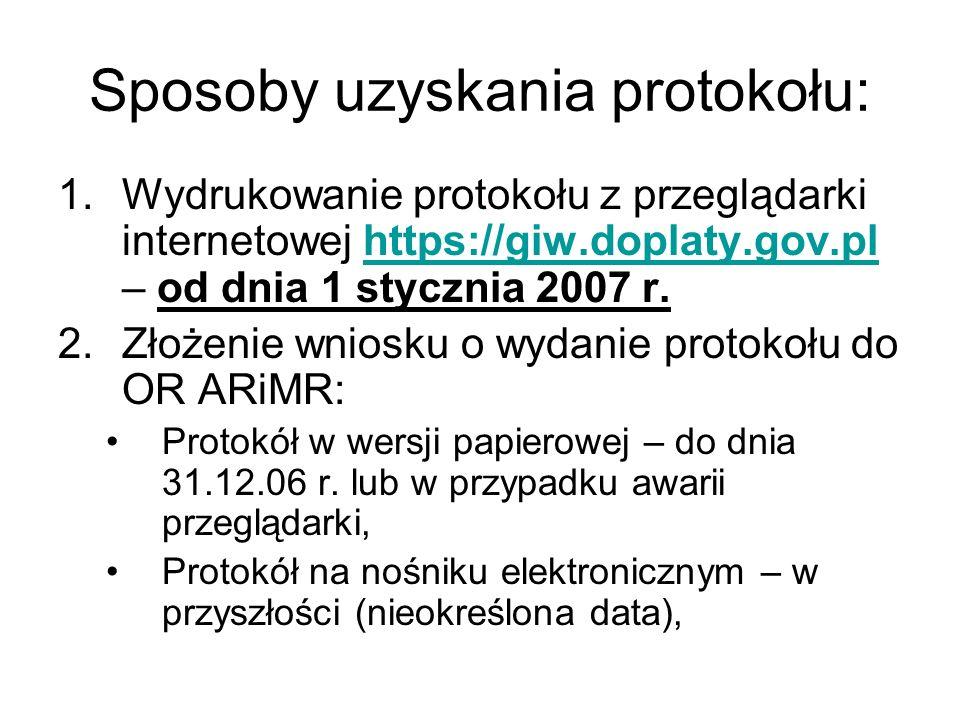 Sposoby uzyskania protokołu: