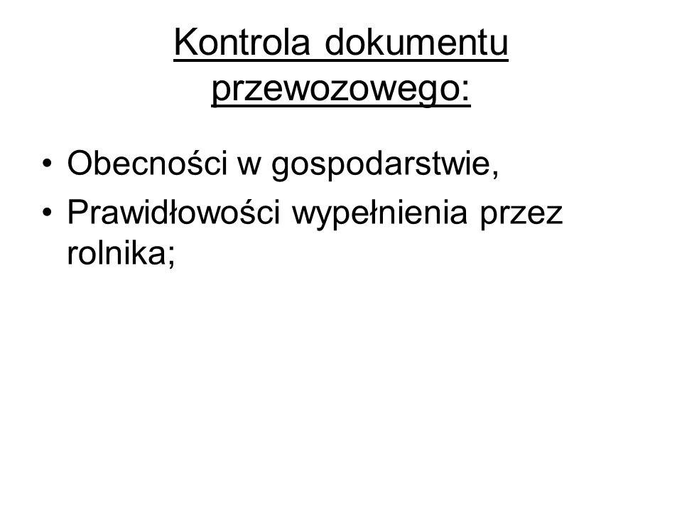 Kontrola dokumentu przewozowego: