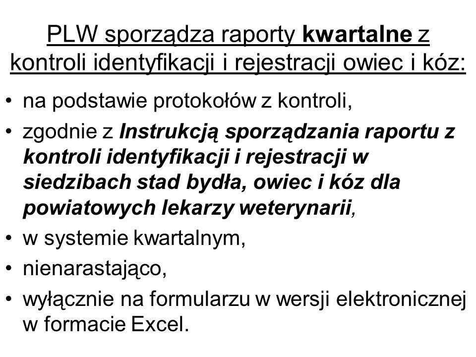 PLW sporządza raporty kwartalne z kontroli identyfikacji i rejestracji owiec i kóz: