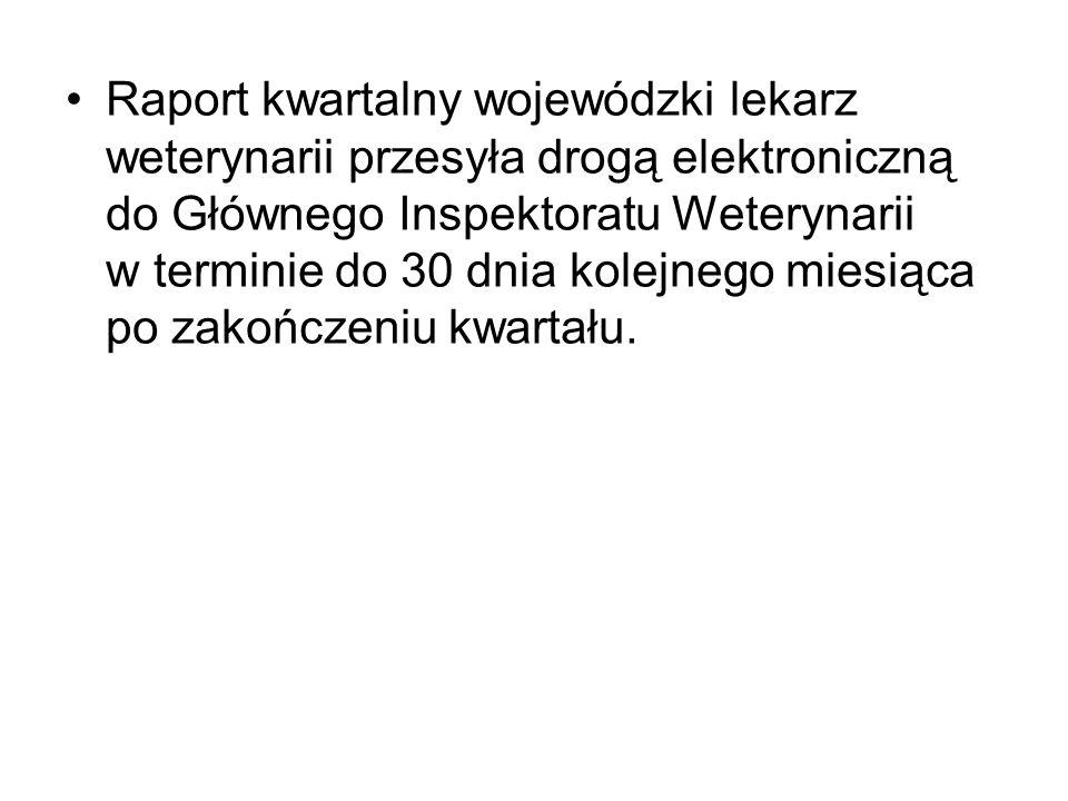 Raport kwartalny wojewódzki lekarz weterynarii przesyła drogą elektroniczną do Głównego Inspektoratu Weterynarii w terminie do 30 dnia kolejnego miesiąca po zakończeniu kwartału.