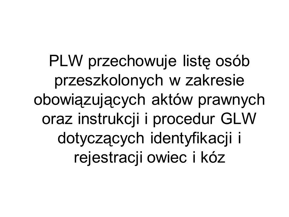 PLW przechowuje listę osób przeszkolonych w zakresie obowiązujących aktów prawnych oraz instrukcji i procedur GLW dotyczących identyfikacji i rejestracji owiec i kóz