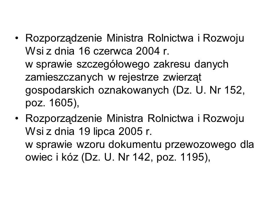 Rozporządzenie Ministra Rolnictwa i Rozwoju Wsi z dnia 16 czerwca 2004 r. w sprawie szczegółowego zakresu danych zamieszczanych w rejestrze zwierząt gospodarskich oznakowanych (Dz. U. Nr 152, poz. 1605),