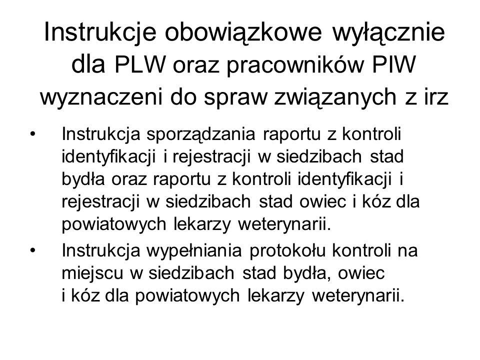 Instrukcje obowiązkowe wyłącznie dla PLW oraz pracowników PIW wyznaczeni do spraw związanych z irz
