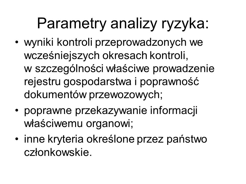 Parametry analizy ryzyka: