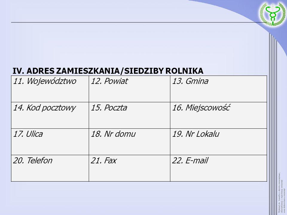 IV. ADRES ZAMIESZKANIA/SIEDZIBY ROLNIKA