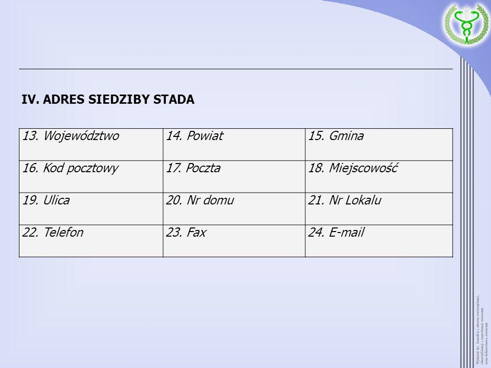 IV. ADRES SIEDZIBY STADA