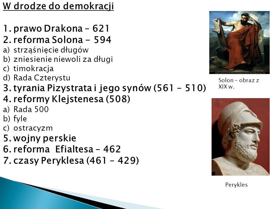 tyrania Pizystrata i jego synów (561 – 510) reformy Klejstenesa (508)