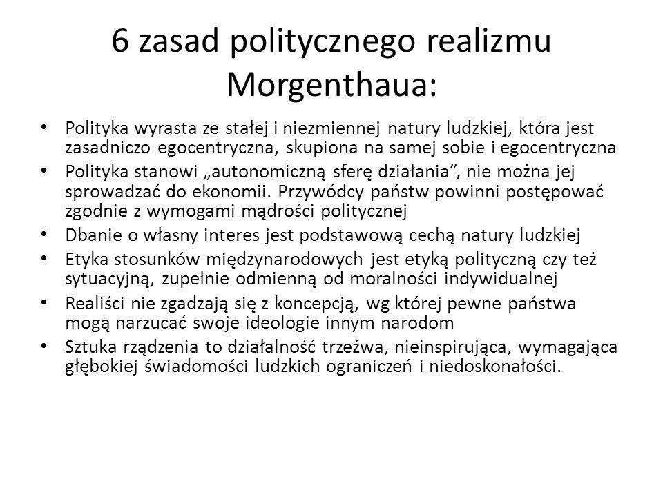 6 zasad politycznego realizmu Morgenthaua:
