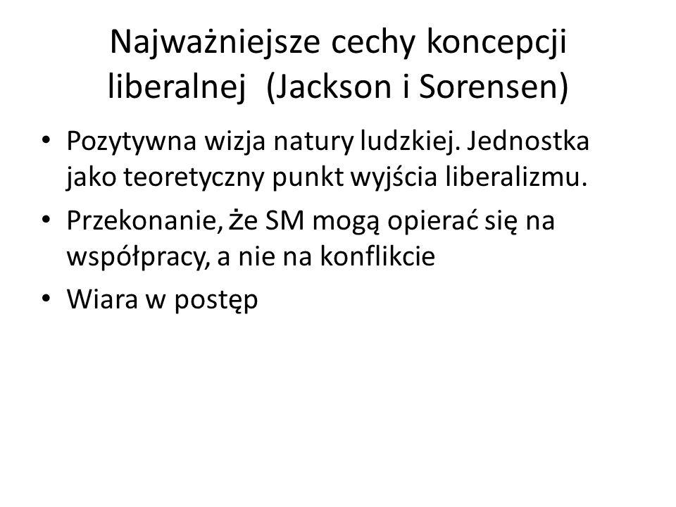Najważniejsze cechy koncepcji liberalnej (Jackson i Sorensen)