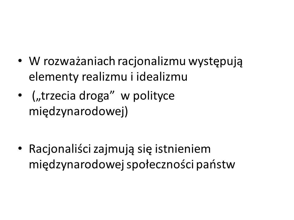 W rozważaniach racjonalizmu występują elementy realizmu i idealizmu