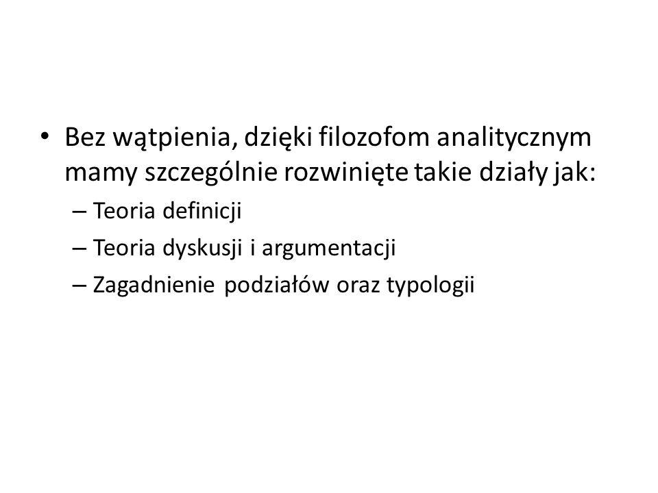 Bez wątpienia, dzięki filozofom analitycznym mamy szczególnie rozwinięte takie działy jak: