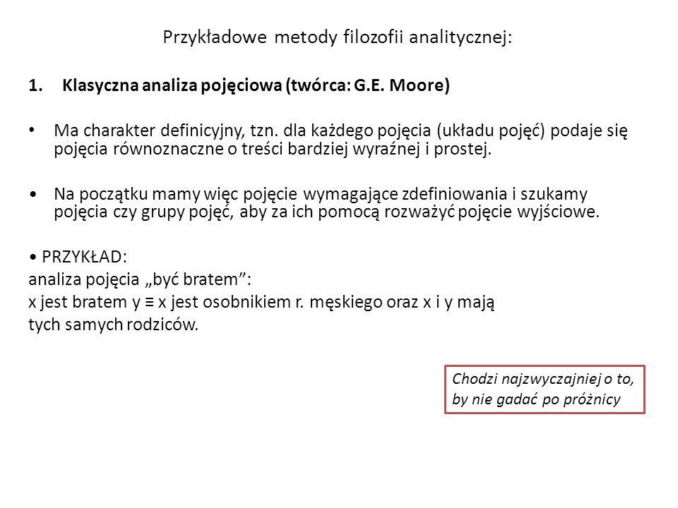 Przykładowe metody filozofii analitycznej: