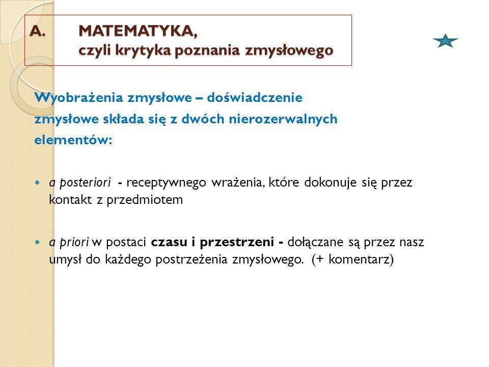 A. MATEMATYKA, czyli krytyka poznania zmysłowego