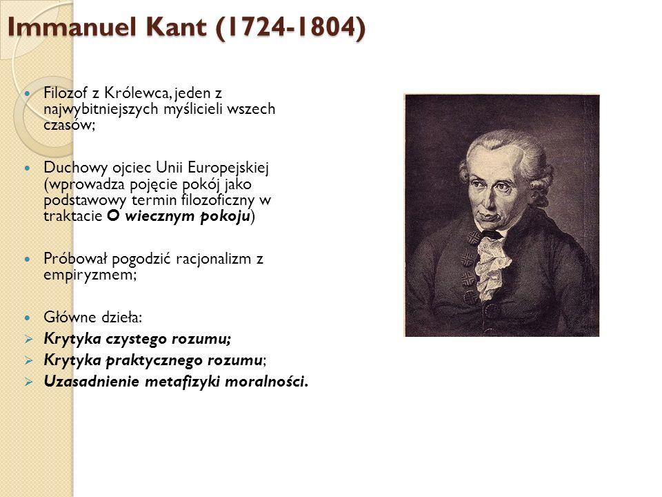 Immanuel Kant (1724-1804)Filozof z Królewca, jeden z najwybitniejszych myślicieli wszech czasów;