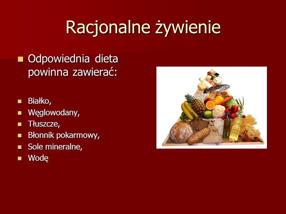 Racjonalne żywienie Odpowiednia dieta powinna zawierać: Białko,