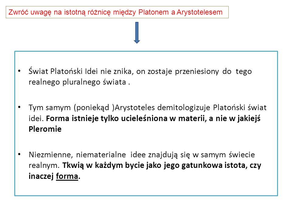 Zwróć uwagę na istotną różnicę między Platonem a Arystotelesem