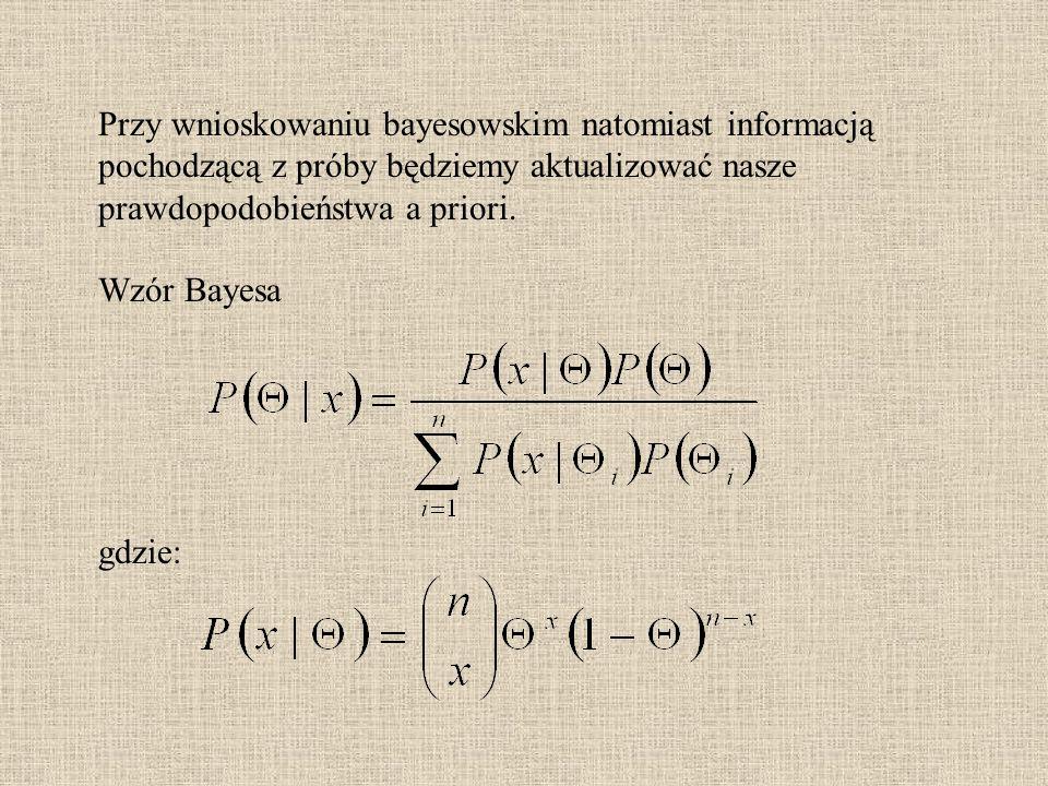 Przy wnioskowaniu bayesowskim natomiast informacją pochodzącą z próby będziemy aktualizować nasze prawdopodobieństwa a priori.