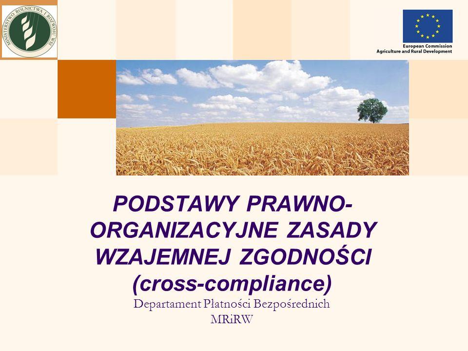PODSTAWY PRAWNO-ORGANIZACYJNE ZASADY WZAJEMNEJ ZGODNOŚCI (cross-compliance) Departament Płatności Bezpośrednich MRiRW