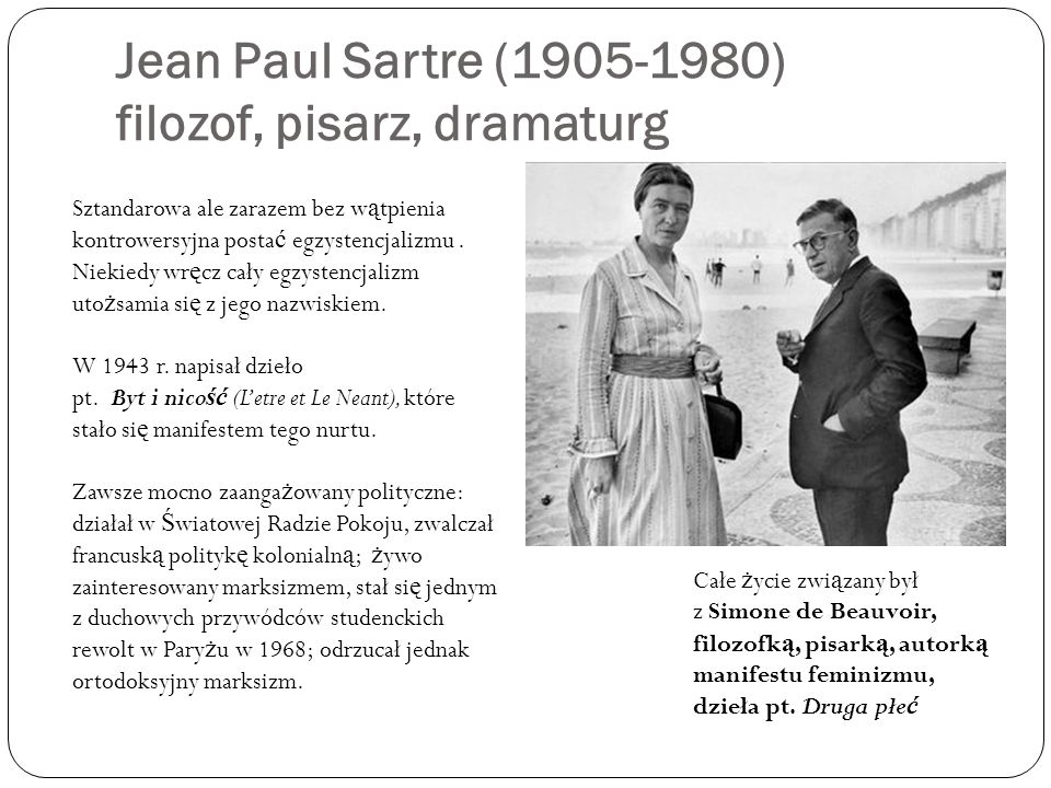 Jean Paul Sartre (1905-1980) filozof, pisarz, dramaturg