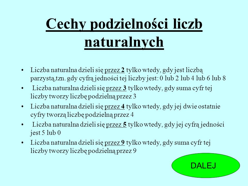 Cechy podzielności liczb naturalnych