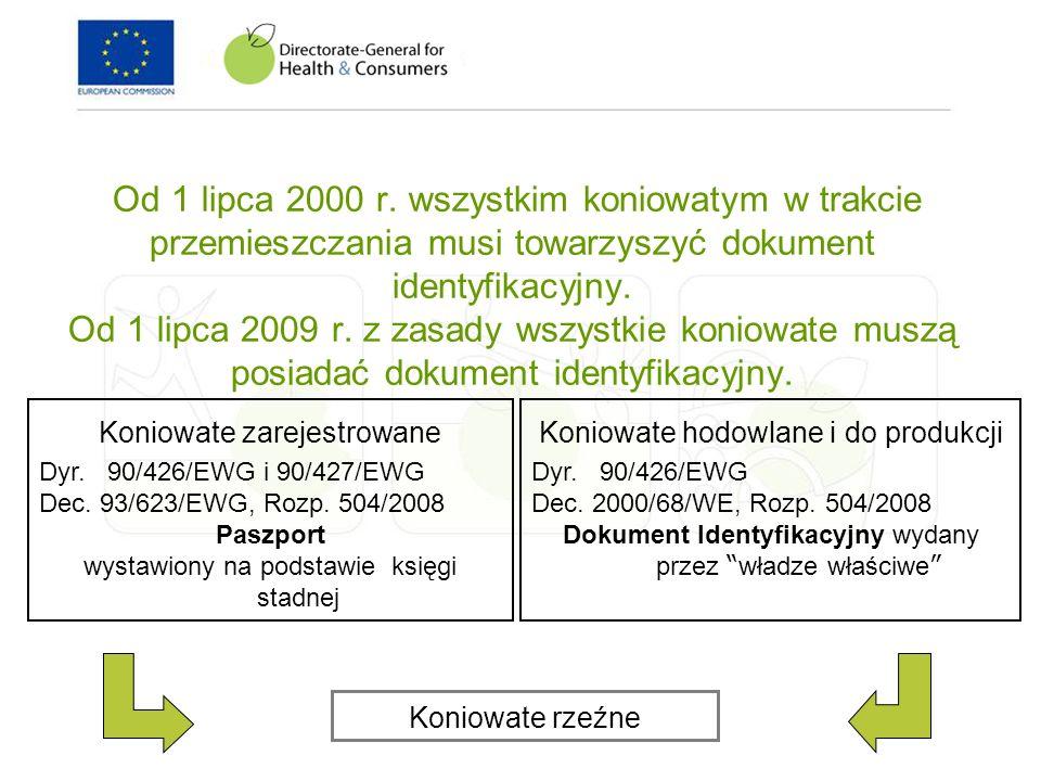 Od 1 lipca 2000 r. wszystkim koniowatym w trakcie przemieszczania musi towarzyszyć dokument identyfikacyjny. Od 1 lipca 2009 r. z zasady wszystkie koniowate muszą posiadać dokument identyfikacyjny.