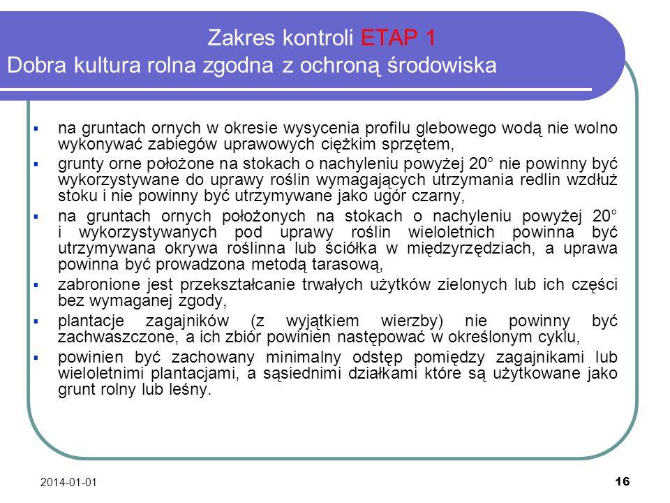 Zakres kontroli ETAP 1 Dobra kultura rolna zgodna z ochroną środowiska
