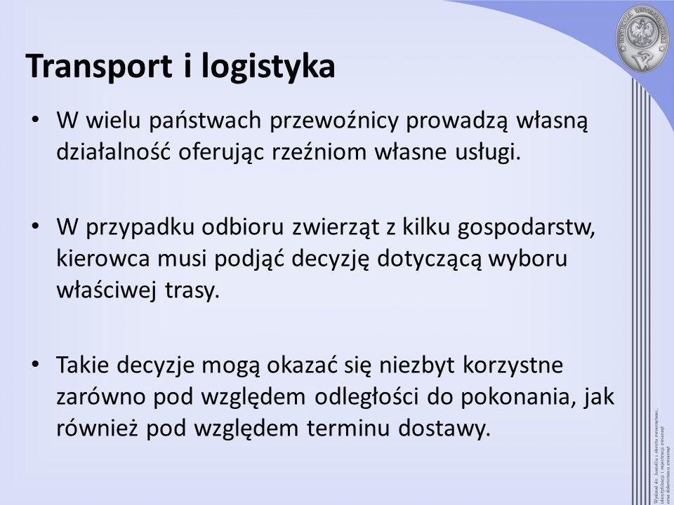 Transport i logistykaW wielu państwach przewoźnicy prowadzą własną działalność oferując rzeźniom własne usługi.