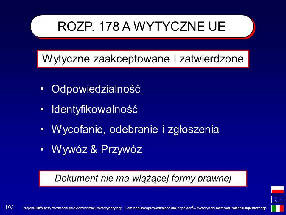ROZP. 178 A WYTYCZNE UE Wytyczne zaakceptowane i zatwierdzone