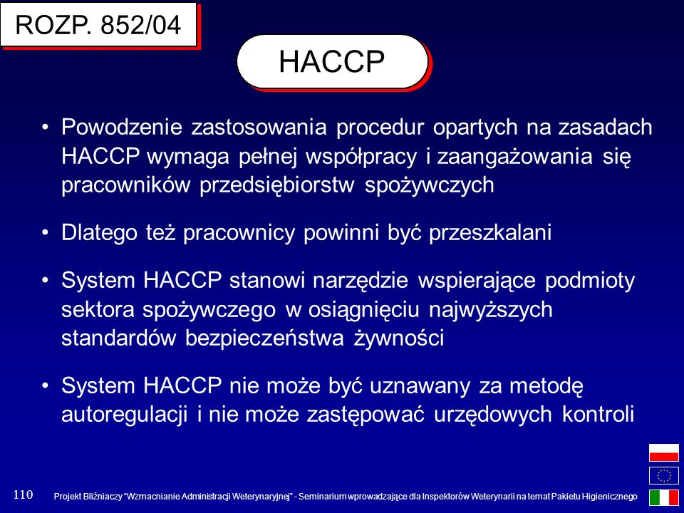 ROZP. 852/04 HACCP.