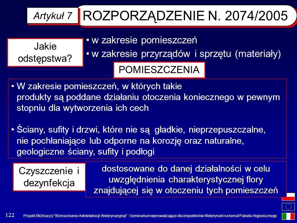 ROZPORZĄDZENIE N. 2074/2005 Artykuł 7 w zakresie pomieszczeń