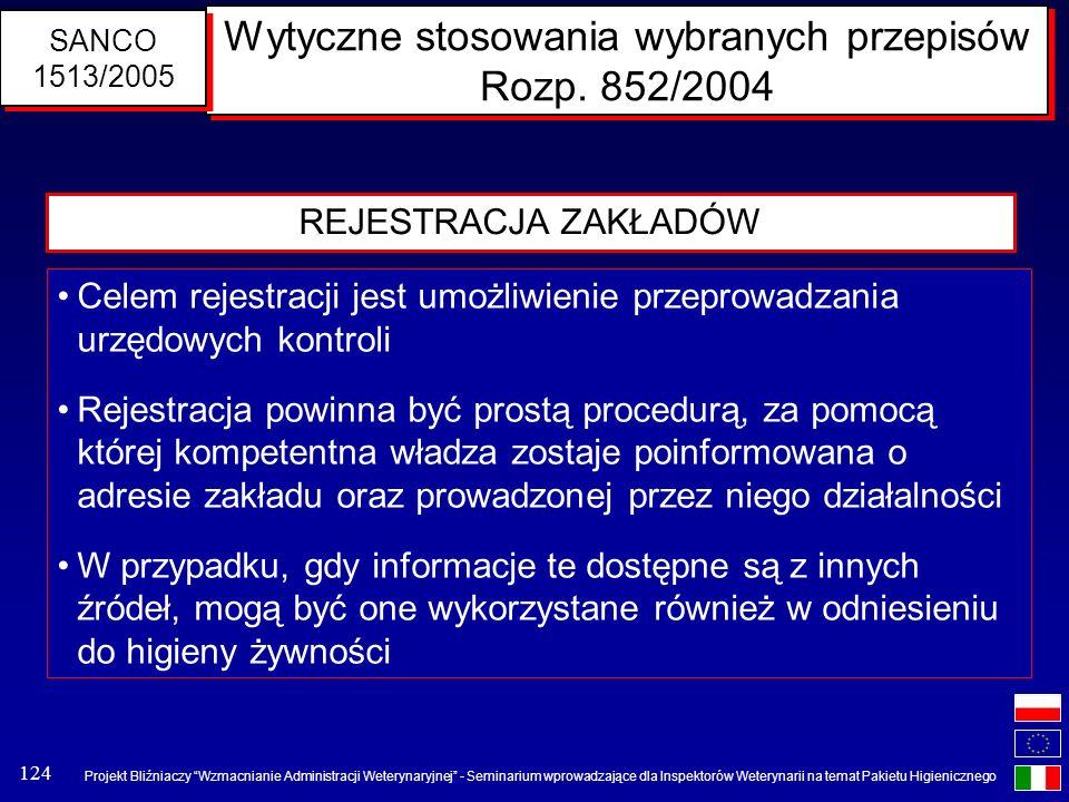 Wytyczne stosowania wybranych przepisów Rozp. 852/2004